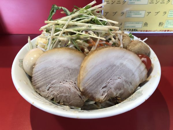 「【限定】メガ冷やし中華+味玉」@蒙麺 火の豚の写真