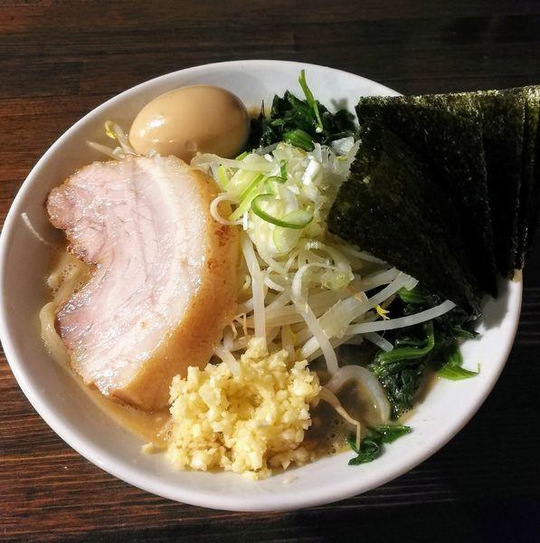 「ミニらーめん、味玉、のり、レン草」@ちばから 渋谷道玄坂店の写真