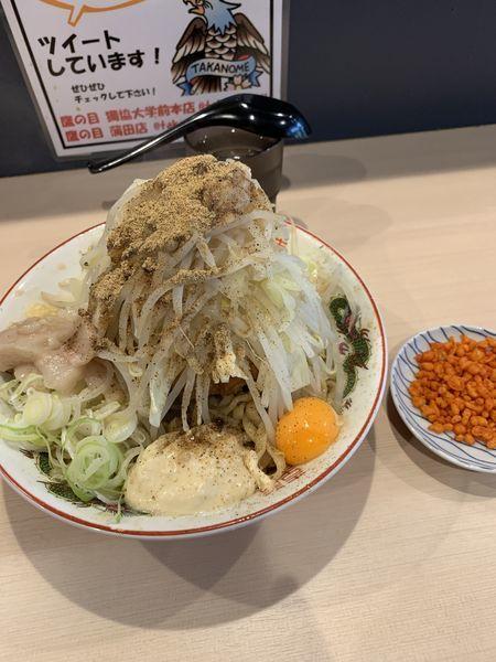 「まぜそば(300g)豚一枚コール全部辛あげ別皿」@鷹の目 蒲田店の写真
