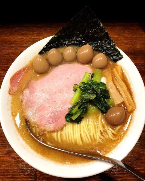 「ほたて魚介らぁ麺(うずらの味玉)」@Soupmenの写真