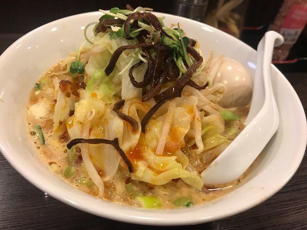 「濃厚担々麺+味玉+野菜」@中華そば こまどりの写真