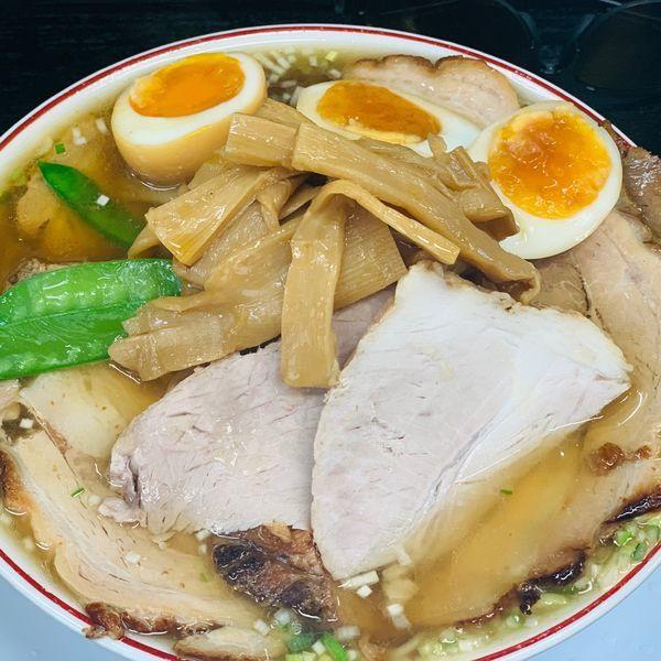 「KING特盛超中華そばとバター肉ごはん中」@中華そば みずさわ屋の写真