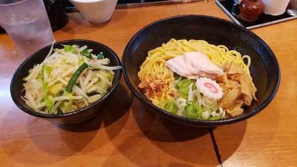 「海老しお油そば+野菜」@吉虎 東京 KICHITORA TOKYO 渋谷本店の写真
