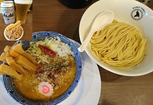 「【限定】ピリ辛キーマカレーつけ麺+メンマ+ビール」@狼煙 東大宮店の写真