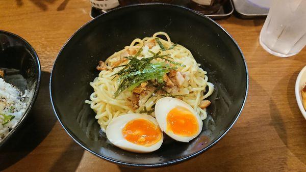 「シンプル油そば 600円 + チャーシュー丼 350円 +α」@歩家の写真