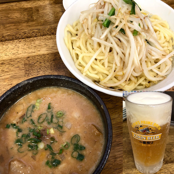 「【限定】炒め味噌つけ麺(大盛300g)+生ビール」@中華蕎麦 丸め 東久留米店の写真