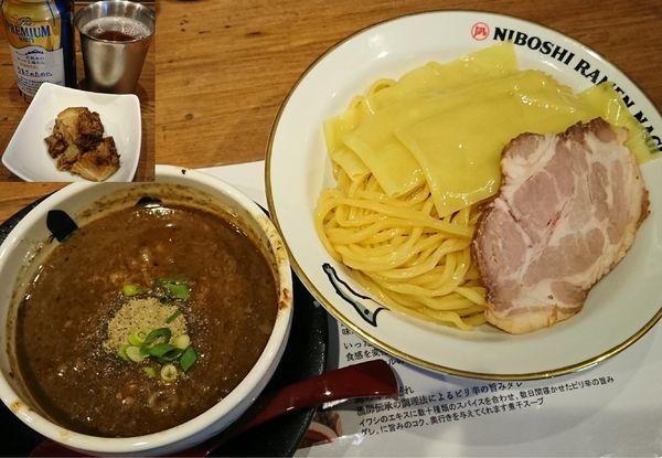 「濃厚煮干つけめん+贅沢な角煮+缶ビール=¥1450」@NIBOSHI TSUKEMEN 凪 大宮南銀通り店の写真