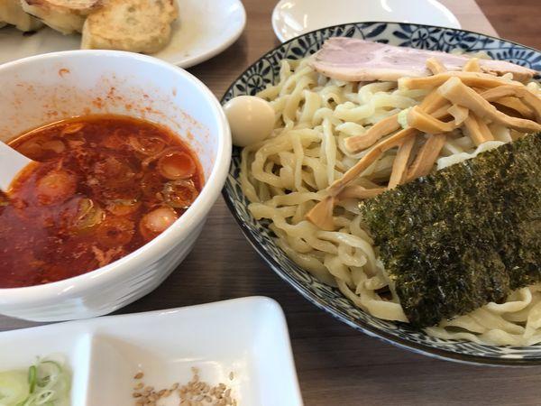「辛ざるつけ麺(餃子)」@龍のひげ 一義の写真