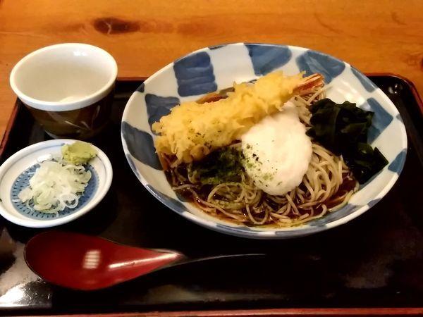 「ぶっかけ天とろそば(並盛)950円」@そば処 きのえねの写真