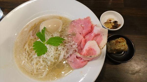 「味たま貝だし塩、替え玉」@NOODLE MEISTER 源九 GENKの写真