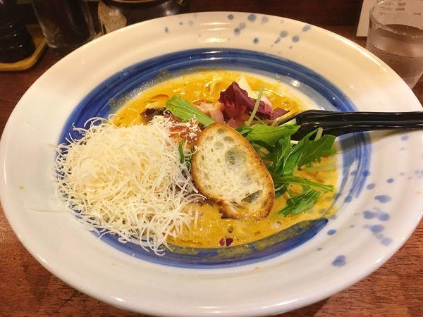 「海老丸カルボナーラチーズ、バケット」@海老丸らーめんの写真