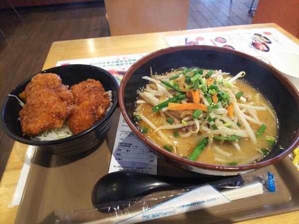 「西会津味噌ラーメンセット1080円」@会津食のブランド館の写真