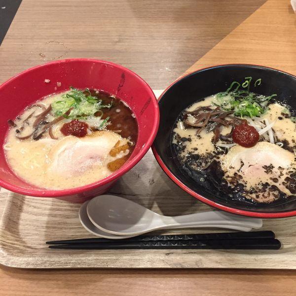 「メインダブルセット  1,000円  麺インブラック+赤丸」@1/2PPUDO 渋谷ヒカリエ店の写真