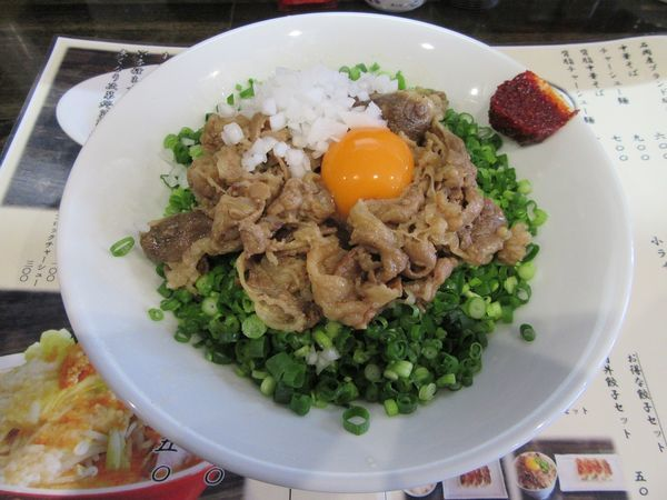 「牛肉ネギまぜそば(900円)+肉増し200円」@ラーメン礼の写真