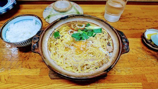 「なべ焼きラーメン(普)+ごはん(小)」@橋本食堂の写真