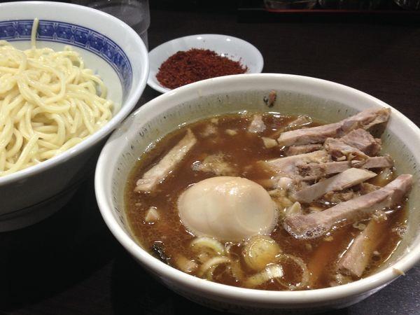 「チャーシューつけ麺+辛味+味玉」@中華そば べんてんの写真