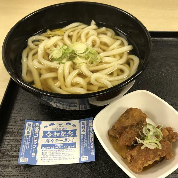 「かけうどん(¥340)+特製から揚げ(クーポン)」@山田うどん食堂 五反田TOC店の写真
