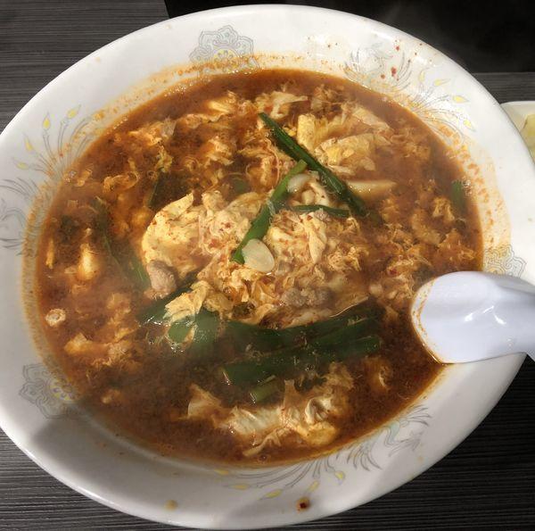 「元祖辛麺 チーズ ライス小」@辛麺屋 桝元 中津店の写真