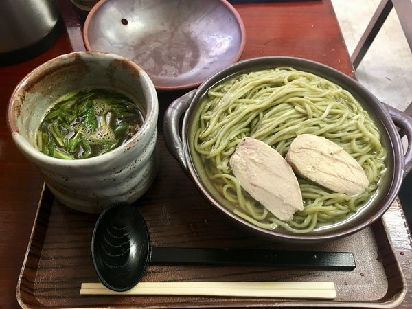 「よもぎと黒豆の鶏白湯つけ麺〜よもきの香りとともに〜 950円」@創作麺処 スタ★アトの写真