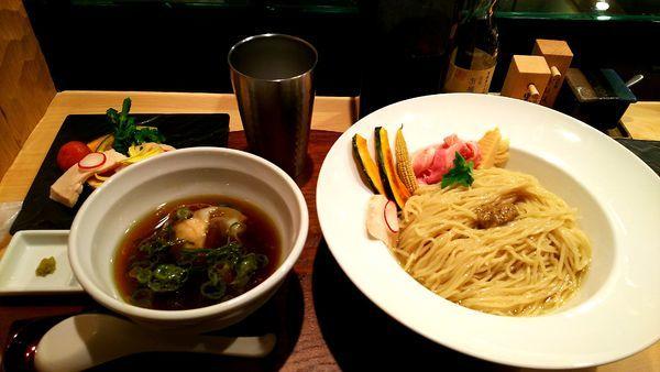 「ポルチーニ茸のつけ麺」@銀座 篝 本店の写真