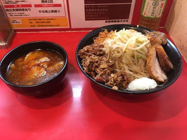 「辛つけ麺+玉ねぎ+とろ豚+ほぐし豚W」@麺屋 桐龍の写真