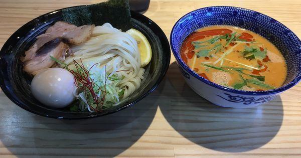 「限定冷製担々つけそば(850¥)味玉サービス」@麺屋 必道の写真