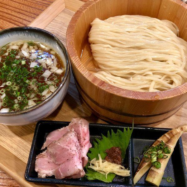 「塩つけ麺(中盛260g)+生ビール」@つけ麺 たつ屋の写真