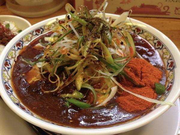 「辛っとろ麻婆麺追い飯セット」@辛っとろ麻婆麺 あかずきんの写真