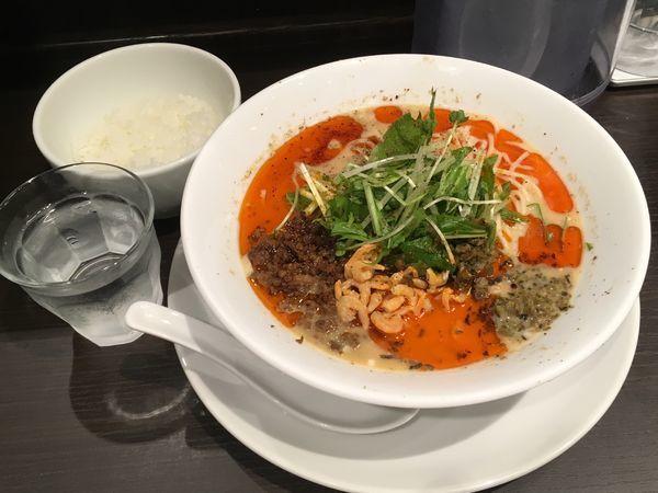 「冷やし担担麺+半ライス」@四川担担麺 阿吽 キッテグランシェ店の写真