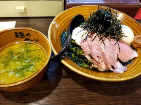 「生海苔と南高梅のまぜつけ」@麺や でこの写真