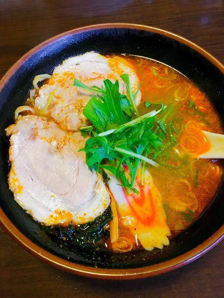 「【秘伝辛味噌】栄菜ラーメン」@ラーメン しんどう 南千木店の写真