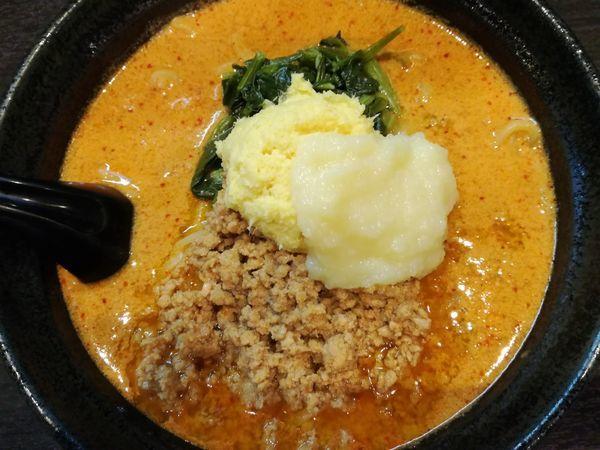 「地獄の担々麺(入門編5辛)(大盛無料):850円」@地獄の担担麺 天竜 トツカーナモール店の写真