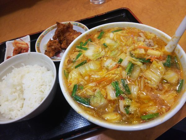 「スタミナラーメンセット小(ライス+唐揚げ)980円」@天理スタミナラーメン 本店の写真