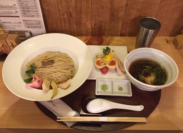 「特製鶏とボルチーニ茸の醤油つけSOBA」@銀座 篝 本店の写真