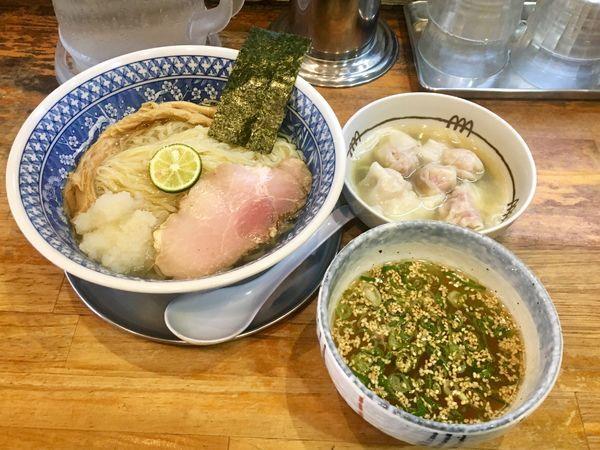 「昆布だし潮ワンタンつけ麺 1250円」@流星軒の写真