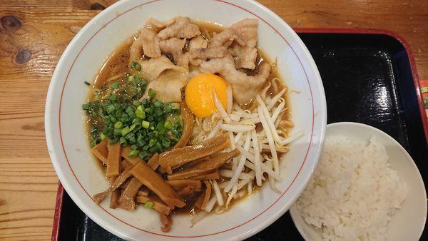 「【限定】徳島ラーメン830円+メンマ100円+ご飯100円」@とんちき麺の写真