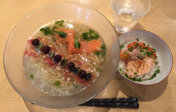 「【季節限定】銀鮭の冷やしそば+銀鮭漬け飯」@饗 くろ㐂の写真