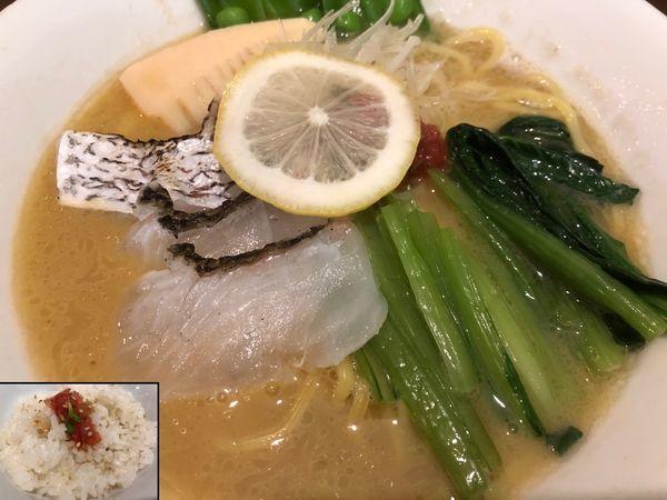 「真鯛らぁめん+野菜増し+鯛出汁ごはん」@真鯛らぁめん まちかどの写真