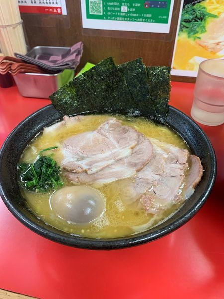 「チャーシュー麺 煮卵トッピング」@横浜家系  一二三家の写真