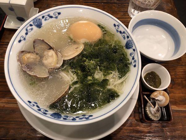 「貝だしラーメン850円+蜆出汁煮卵」@貝料理 梵厨の写真