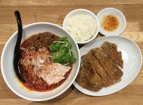 「排骨冷やし担々麺(5辛)+半ライス」@かつぎやの写真