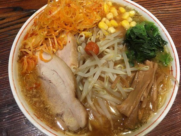 「味噌ラーメン 720円(辛ネギ+100円)+税」@水戸中華そば むじゃき食堂の写真