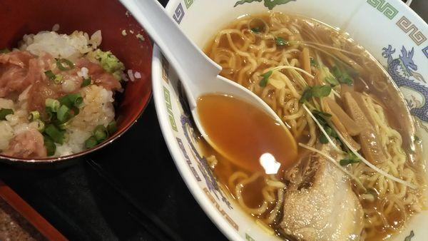 「ネギトロ丼セット(500円)」@ラーメン王の写真