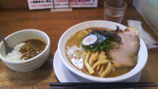 「らーめん(濃厚魚介豚骨)+麺大盛(無料)+茶碗カレー(無料)」@麺匠うえ田の写真