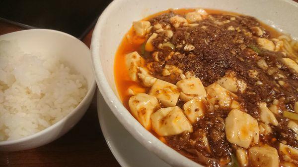 「麻婆麺(倍辛)+ライス無料」@SHIBIRE NOODLES 蝋燭屋の写真