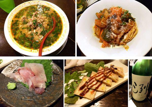 「台湾ラーメン+冷やしトマト和えそば」@立ち呑み居酒屋 金町製麺の写真