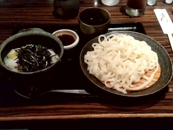 「週替わり丼セット(オクラ山かけ丼+冷たいうどん)870円」@遊天の写真
