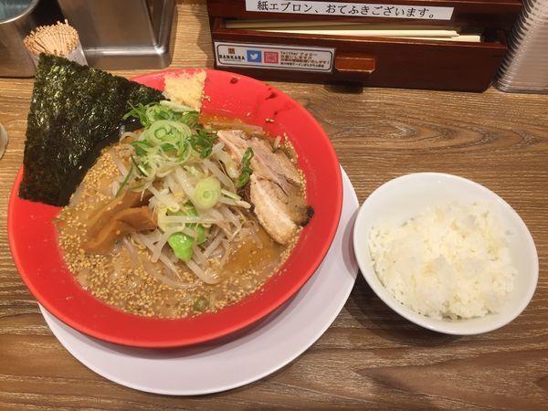 「冷し味噌+サービスライス」@旭川味噌ラーメン ばんから 上野店の写真