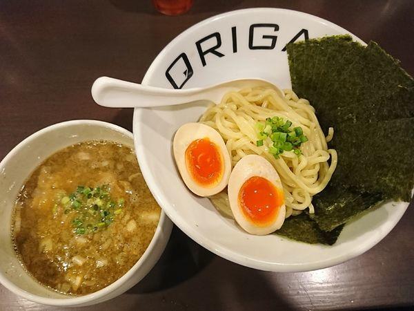「味玉ORIGAMIつけ麺(こってり)+のり(1000円)」@麺屋 ORIGAMIの写真