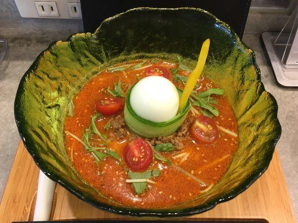 「冷やし担々麺+半ライス」@ソバダイニング クワトロの写真